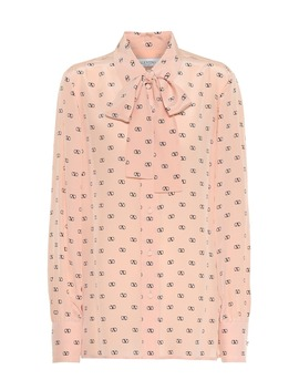 Vlogo Printed Silk Blouse by Valentino