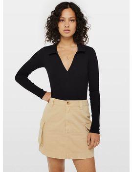 Black Long Sleeve Collar Neck Bodysuit by Miss Selfridge