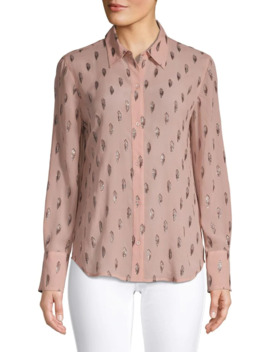 Metallic Embroidered Long Sleeve Shirt by Equipment