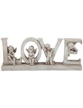 "Love 12"" Wide Decorative Shelf Sculpture With Angels by Lamps Plus"