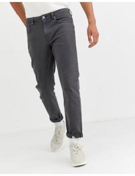 Asos Design Tapered Jeans In Flat Dark Grey by Asos Design