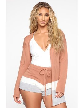 Jazmyn Sweater Short Set   Light Rust/Combo by Fashion Nova