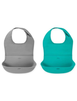 Oxo Tot® 2 Pack Roll Up Bibs In Grey/Teal by Bed Bath And Beyond