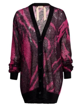 Mohair Blend Zebra Print Cardigan by No. 21