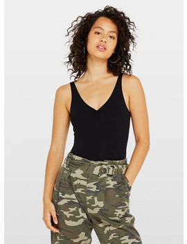 Black Sleeveless Ruched Front Bodysuit by Miss Selfridge