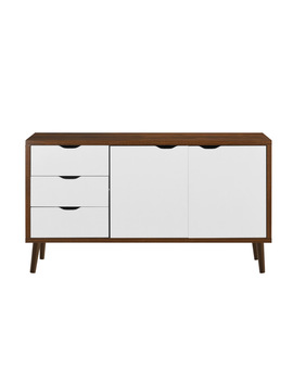 Modern Wooden Tv Stand With Drawers And Cabinet Doors, Brown/White by Sofamania