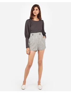 Super High Waisted Striped Button Front Linen Blend Shorts by Express