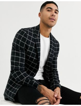 Asos Design Super Skinny Jersey Blazer In Navy Windowpane Check by Asos Design