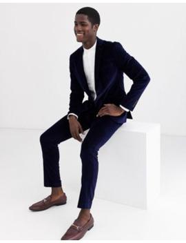 Selected Homme Slim Fit Velvet Suit In Navy by Asos