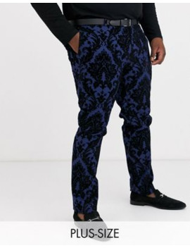 Twisted Tailor Plus Suit Trouser With Baroque Flocking In Blue by Twisted Tailor