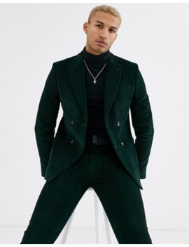River Island Suit Jacket In Green Cord by River Island