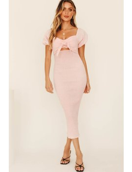 All You Need Shirred Midi Dress // Baby Pink by Vergegirl