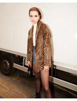 Short Belted Wool Leopard Coat by The Kooples