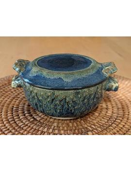 Ceramic Lidded Bowl, Soup, Dessert, Cereal, Sides, Microwave Heating, Storage, With Blue And Green Glazes, Handmade By Jason Hooper Pottery by Etsy