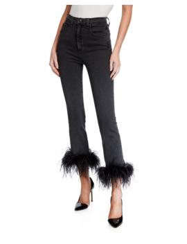 Kareena High Rise Skinny Jeans W/ Feathers by Veronica Beard
