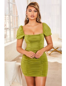 Know Your Worth Ruched Bodycon Mini Dress In Olive Green by Oh Polly