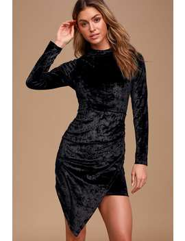 So Magical Black Velvet Long Sleeve Mock Neck Bodycon Dress by Lulus