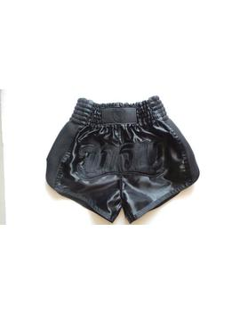 Muay Thai Boxing Shorts All Black Wik Rom Brand Satin + Free Key Chain (10% Of Price Is For Charity & Solidarity ) Made In Thailand by Etsy