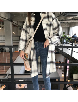 Women Autumn Retro Loose Black & White Plaid Blouse Lapel Long Sleeve Casual Mid Long Plaid Shirt Blouse 2019 by Ali Express.Com