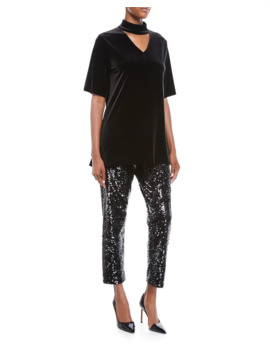 Sequined Slim Ankle Pants by Joan Vass