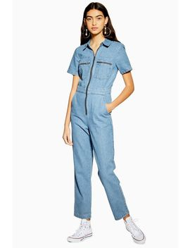Tall Mid Stone Short Sleeve Boiler Suit by Topshop