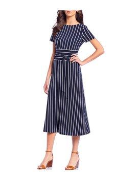 Belted Striped Jersey A Line Midi Dress by Lauren Ralph Lauren