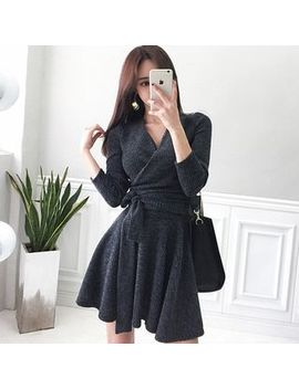 Hasu   Long Sleeve Tie Waist Mini A Line Knit Dress by Hasu