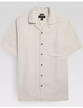 Pronto Uomo Teal Silk & 37.5 Tech Fabric Camp Shirt by Pronto Uomo