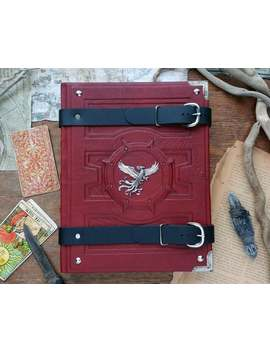 Grand Grimoire Of The Phoenix   Red Leather Book Of Shadows, Silver Bird Sketchbook, Silver Buckles Blank Journal, Handmade Bookbinding by Etsy