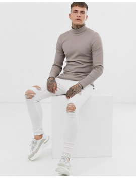Asos Design Muscle Fit Long Sleeve Roll Neck T Shirt In Rib In Beige by Asos Design