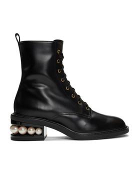 Black Casati Pearl 35mm Combat Boots by Nicholas Kirkwood