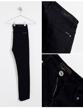 Liquor N Poker Skinny Fit Jeans With Rips In Black by Liquor N Poker