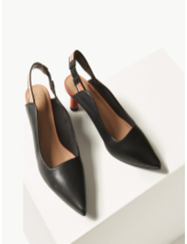 Women Black Solid Pumps by Marks & Spencer
