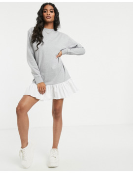 Missguided Frill Hem Sweater Dress In Grey by Missguided's