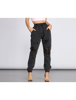 Distressed Denim Joggers by Windsor