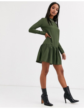 Pretty Little Thing Mini Shift Dress With Frill Hem In Khaki by Pretty Little Thing