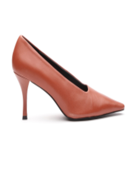 Women Rust Brown Solid Leather Pumps by Mango