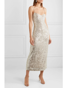 Sequined Georgette Midi Dress by Galvan