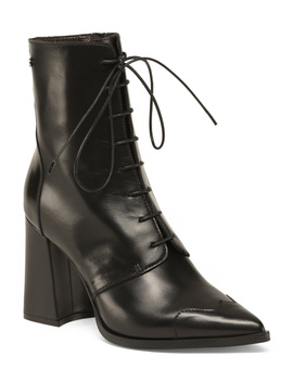 Made In Italy Leather Pointy Lace Up Boot by Tj Maxx