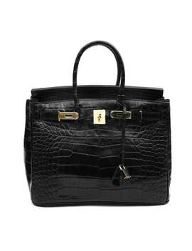Crocodile Effect Leather Bag Tote Bag Padlock Bag Calf Leather Bag 30cm 35cm In Black by Etsy