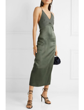 Satin And Crepe Midi Dress by Dion Lee