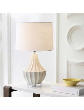 "Tate 24.5"" Ceramic Led Table Lamp, Cream by Jonathan Y"