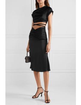 Romantique Ruched Satin Midi Skirt by Orseund Iris