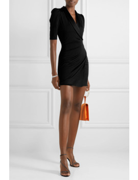 Remi Wrap Effect Satin Trimmed Stretch Jersey Mini Dress by Alice + Olivia
