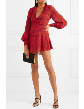 Polly Wrap Effect Animal Print Crepe Mini Dress by Alice + Olivia