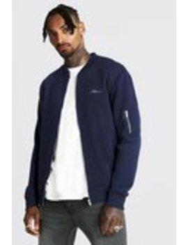 Man Jersey Ma1 Bomber Jacket by Boohoo Man