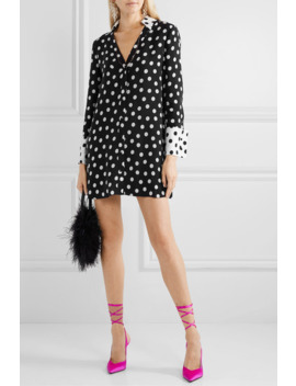 Halima Polka Dot Crepe Mini Dress by Alice + Olivia