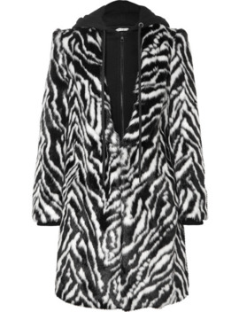 Kylie Hooded Zebra Print Faux Fur Coat by Alice + Olivia