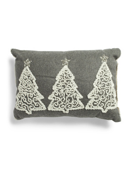 14x20 Wool Blend 3 Tree Embroidered Cushion by Tj Maxx