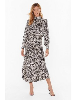 Days Of Wild Satin Leopard Midi Skirt by Nasty Gal